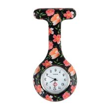 Orange flowers pattern Silicone Nurses Brooch Tunic Fob Pocket Watch Stainless Dial