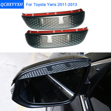 Buy Car Styling Carbon rearview mirror rain eyebrow Rainproof Sticker Flexible Blade Protector Accessory TOYOTA YARIS 2011-2013 for $9.29 in AliExpress store