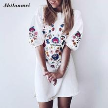 Shilanmei Cute White Swimwear Tunics Kaftan Beach Dress Bathing Suit Cover Ups Print Beach Wear Women Robe de Plage