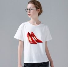 Summer Modern Girl High Hells Shoes Printed Top Tees Women TShirts Vintage Short Sleeve Fashion Tops W298