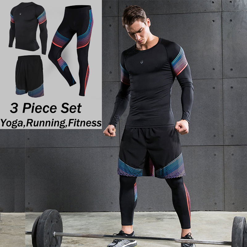 3 Piece Set Mens sports running stretch tights leggings+t shirts+shorts training pants jogging fitness gym compression suits<br>