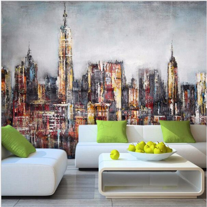 Customize any size 3D retro wallpaper graffiti mural painting living room bedroom building of the city painted backdrop <br><br>Aliexpress