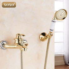 XOXONew arrival Rain Shower Golden Faucetsexposed shower tap golden Brass Bath Shower Faucet Set bathtub faucet 50047GT(China)