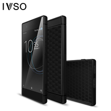 IVSO for Sony Xperia XA1 Case Silicone Geometric Hexagon Design Carbon Fiber Phone Accessories Cover for Sony Xperia XA1 Capas