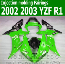 100% Injection molding body kits for YAMAHA  fairing kit 2002 2003 green black fairings set YZF R1 02 03 JK77