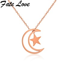 Fate Love New Design Moon With Star Pendant Necklaces Woman Chain Gift Stainless Steel Rose Gold Color Necklace Jewelry FL1179