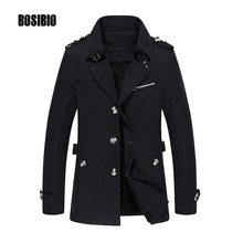 2017 Men Trench Coat Spring Autumn Casual Slim it Thin Jacket Coat High Quality Male Medium Long Windbreaker Plus Size 5XL 1307