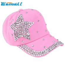 CharmDemon 5 Colors Fashion Children Kids Baseball Cap Rhinestone Star Shaped Boy Girls Snapback Hat mr6