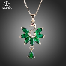 AZORA Marquise Cut Swan Green CZ Pendant Necklace TN0125