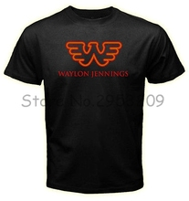 Waylon Jennings of America Logos Men Black T shirt Leisure Round neck Cotton t shirt free shipping(China)