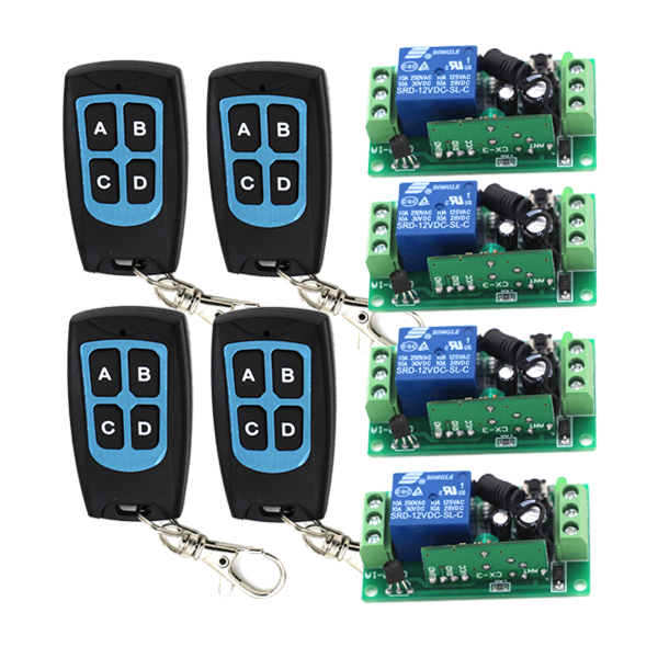 Wireless Switch System Water-proof Remote Controller 4 Receiver &amp; 4Transmitter 315/433mhz Learning Code Output is Adjustable<br>