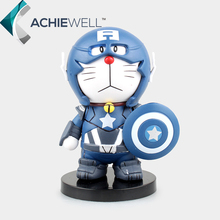 New Anime Robot Doraemon COS POP Captain America PVC Action Figure Pokonyan Model Plastic Toy For Kid Gift Dolls Collection