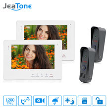 "JeaTone 7""Video Intercom Doorbell Waterproof Door Phone Camera Home Security Kit 1200TVL Dual Communication Touch Button Monitor(China)"