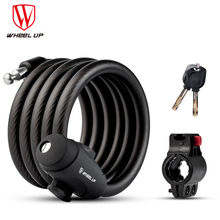 WHEEL UP 1.2m 1.8m Anti Theft Cable Lock Steel Wire Safe 3 Colors MTB Road Bike Security Steel Key Bicycle Lock