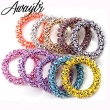 5pcs Unisex Telephone Wire Band Head Hair Hand Bracelet Arm Elastic Cord Rubber