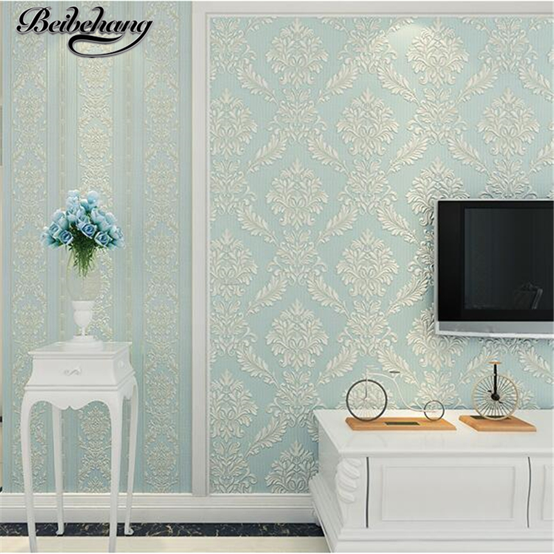beibehang 3D Relief Luxury Atmosphere Stereo Stripe European Nonwovens Wallpaper Bedroom Living Room TV Background Wallpaper<br>
