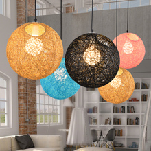 Nordic rattan weaving art bird nest circular lamp American dining room table tennis room creative personality Pendant Lights