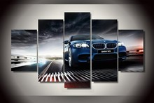5 Pieces HD Printed BMW m5 f10 Sedan Painting On Canvas Room Decoration Print Wall Modular Picture Canvas Decoration Artworks