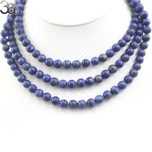 Free Ship Gift Packed 54inch 8mm Blue Lapis Lazuli Beads Long Genuine Gems Stone Necklace Yoga For Women Bohemian Necklace(China)