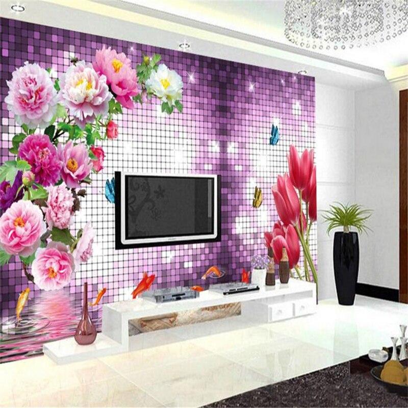 papel de parede 3D Wallpaper Photo European Dielianhua Purple Crystal 3D Mural 3D Living Room TV Decorative Wallpaper for walls <br><br>Aliexpress