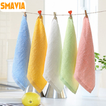 SMAVIA Bamboo Fiber Fabric Solid Kid&Baby Face Towel Absorbent Super Soft Hand/Face Towel 25*25cm/5pcs Towels Accept Mix Colors