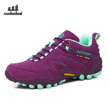 OUDADASI Hiking Shoes Women Trekking Boots Autumn/Winter Outdoor Shoes Women Climbing Sneakers Leather Sport Shoes Boots