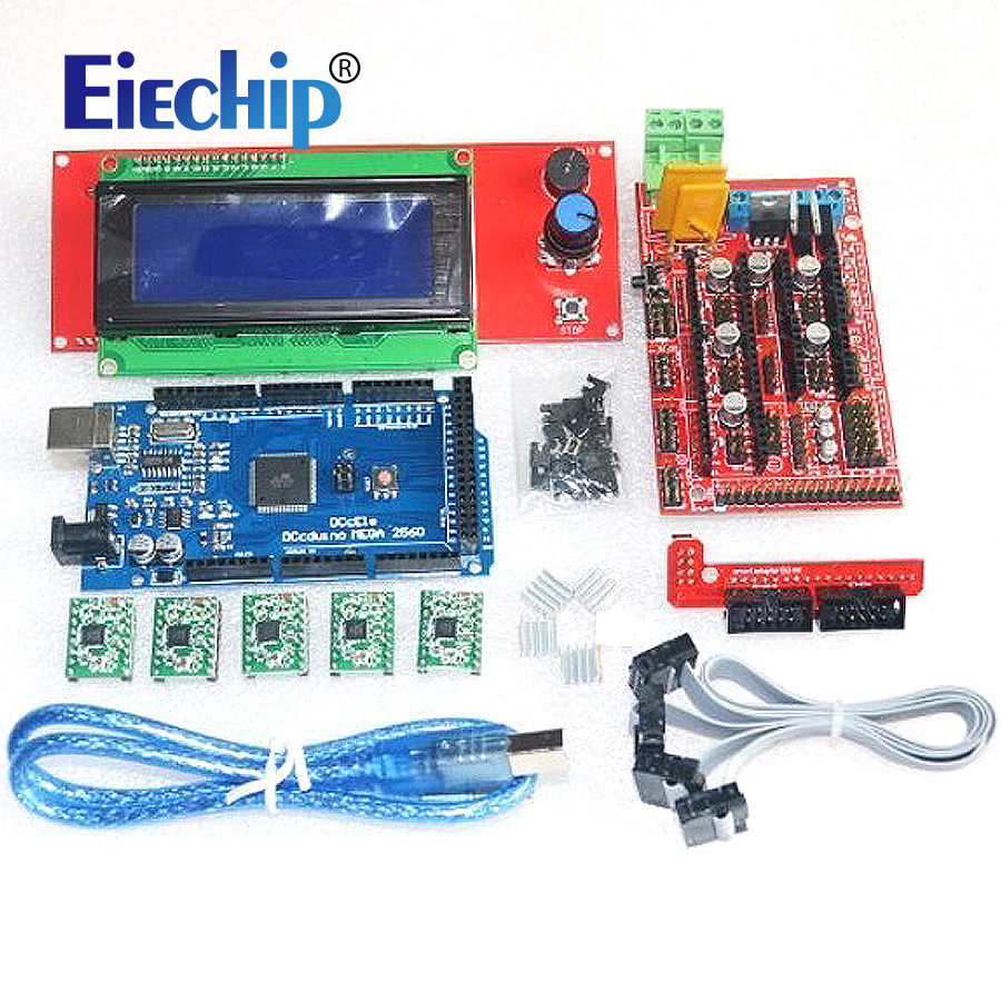 3D-P 1pcs Mega 2560 R3 + 1pcs RAMPS 1.4 Controller + 5pcs A4988 Stepper Driver Module +1pcs 2004 controller for 3D Printer kit<br>