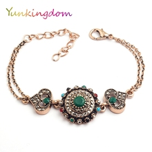 Yunkingdom Vintage heart design a bracelet green resin chain bracelets for women K1802(China)