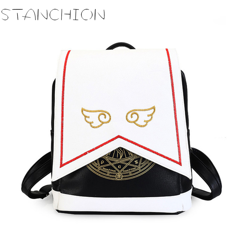STANCHION Anime Card Sakura Cute Backpack Sakura Printing School Bags PU Leather Backpack of Women  With Angel Wings<br>