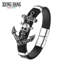 Buy XiongHang 2017 Fashion Stainless Steel Anchor Accessory Genuine Leather Chain Bracelet Men Vintage Male Skeleton Anchor Jewelry for $7.50 in AliExpress store
