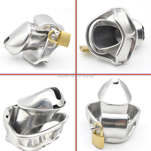 Buy Male 316L stainless steel Luxury Small Cage Chastity Device 2 Magic Locks Adult Chastity Cage Sex Toys