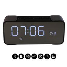 Alarm Clock Radio Receiver Home FM Radio Bluetooth Speaker Portatil Stereo Dual Loudspeaker Support TF Card mp3 Music player