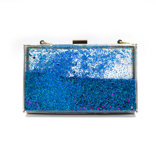New Fashion Sequins Acrylic Clutch Evening Bags Chain Women Shoulder Bags Hard Box Wedding Party Purse Handbags 6 Colors(China)