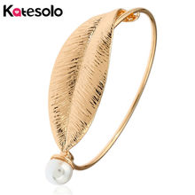 Katesolo Fashion Gold/Silver Color Simulated Pearl Leaf Cuff Bracelets Bangles For Women Jewelry Friendship Gifts
