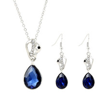 Royal Blue/Brown/Pink Austria Crystal Swan Jewelry Sets Fashion Silver Plated Water Drop Earrings Pendant Necklace Bride Jewelry
