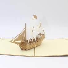 1pc 3D Paper Sculpture Laser Cut Retro Sailing Boat Ship PostCard Greeting Cards Wedding Business Party Invitation Card Gift