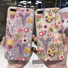 The New Ultra thin 3D Relief Cute Fresh lover flowers bird Case For iPhone 7 6 6S Plus Phone Silicone capa soft Cover Back lina