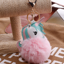 Buy Unicorn pompom Keychain faux Rabbit fur ball licorne key chain Horse porte clef pompon Bag Car Keyring Key holder llaveros for $1.48 in AliExpress store