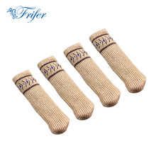 4Pcs Double Layers Type Thickened Knitting Wool Chair Leg Floor Protectors Furniture Leg Cap Chair Antiskid Leg Socks Foot Strap(China)