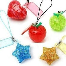 5pcs/Lot  3D Mini Crystal Puzzle Jigsaw puzzle Toys Hobbies DIY Handmade Mobile Phone Key Chain Fashion New Arrival