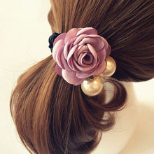1pc Beautiful Fabric Flower Peal Hair Rose Flower Scrunchie Ponytail Hairband Hair Bands Rope Hair Clips Women Headwear