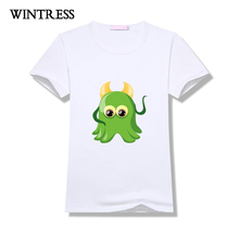 WINTRESS New Fashion Design Women Tops Green Octopus Cartoon Pattern Female Funny T-Shirt Short Sleeve O-Neck Tee(China)