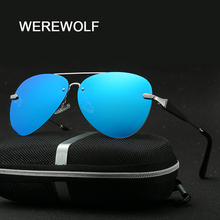 WEREWOLF Brand design Alloy Polarized Sunglasses Men Driver Mirror Sun glasses Male Female 2017 Fashion Eyewear for men with box