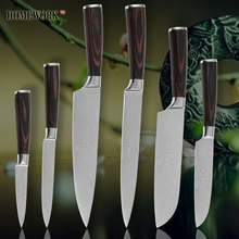 Kitchen knives chef slicing santoku utility pariing damascus veins stainless steel knives color wood handle sharp cooking tools