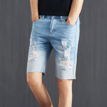 LEEpu's Brand men's hole jeans,Equipped with POLO shirt more attractive man,summer casual fashion five Jeans Shorts,pants 8802(China)