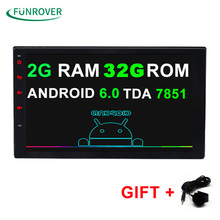 "Funrover Quad Core 7"" 2 Din Android 6.0 Car DVD Radio Multimedia Player 1024*600 Universal GPS Navigation autoradio Stereo Audio(China)"