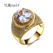 Elegant Fashion rings for women New Trendy crystal wholesale jewelry lots womens jewellery buy wholesale brass big stone ring(China)
