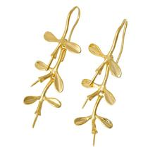 "DoreenBeads Copper Earrings Hooks Leaf Clover gold color 4.1cm x1.7cm(1 5/8"" x 5/8"")- 3.8cm x1.6cm(1 4/8"" x 5/8""),5Pairs"