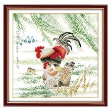 Курица Семья фотографии Счетный крест 11CT 14CT вышивки крестом Животные вышивка крестом Наборы для Вышивка Домашний декор рукоделие(China)