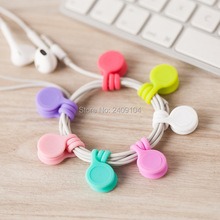 100pcs New Arrival Silicone Magnet coil earphone cable winder headset type bobbin winder   hubs cord holder Cable Wire Organizer